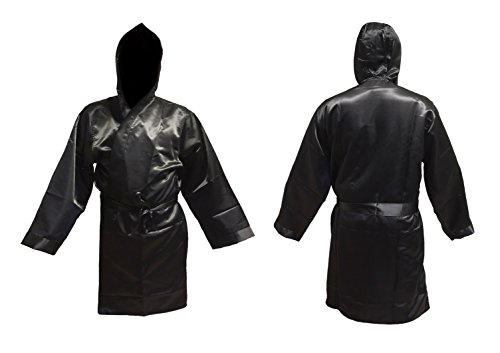 Budodrake Boxmantel Senior schwarz für Boxer Kickboxer Promotion Boxing
