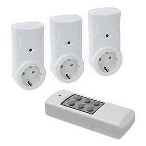 Funksteckdosenset für Innenbereich, 3 Empfänger + 1 Sender