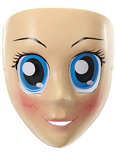 (KULTFAKTOR GmbH Manga-Maske Anime Kostümzubehör Hautfarben-Blau)