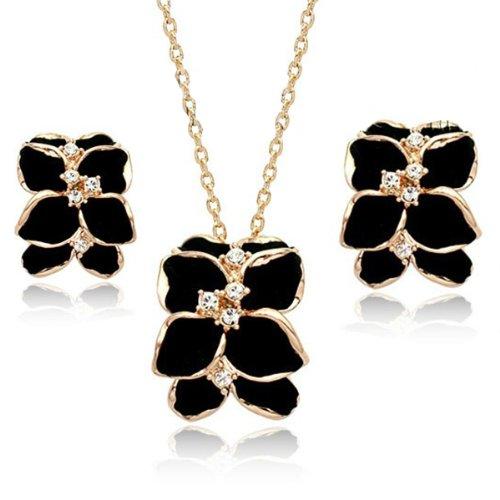 FAIRY COUPLE Damen Schmuck Set schwarze Blume Form Glasur Anhaenger mit Halskette und Ohrring S110