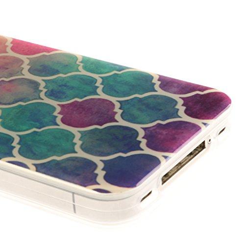Pour Apple iPhone 5 5S 5SE Coque,Ecoway Housse étui en TPU Silicone Shell Housse Coque étui Case Cover Cuir Etui Housse de Protection Coque Étui Apple iPhone 5 5S 5SE –Black smiley cercles colorés