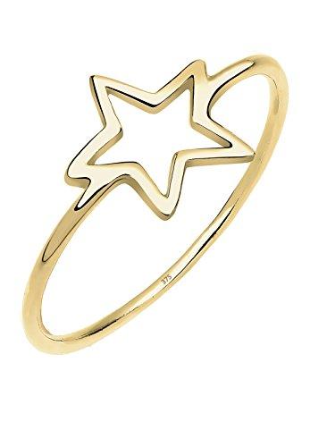 Elli Premium Ring Damen Stern Astro Geo Minimal in 375 Gelbgold