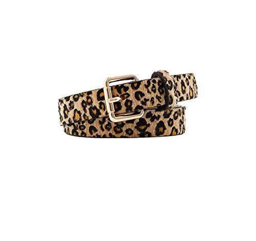 Cinturones de las mujeres Cinturón decorativo con estampado de leopardo, cinturón retro con hebilla salvaje@Marrón_El 105 * 2.5cm