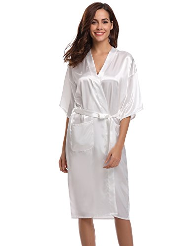 Aibrou Damen Satin Morgenmantel Kimono Lang Bademantel Schlafanzug Negligee Nachthemd Nachtwäsche Unterwäsche V Ausschnitt Mit Gürtel, Gr. M, Farbe: - Weiße Mäntel
