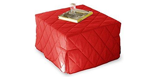 Pouff allegro trasformabile in letto singolo, rivestimento trapuntato rosso