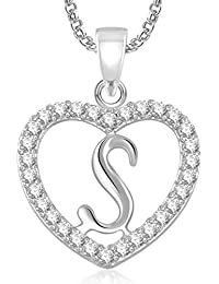 Meenaz Silver Plated 'S' Letter Pendant Alphabet Pendant With Chain For Men & Women