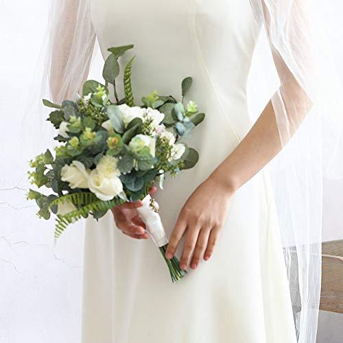JKYQ Brautstrauß Wedding Bouquets White Rose Eucalyptus Blatt Fake Flower Bridesmaid Bouquets Hochzeitsreise Fotografie Mit Blumen zu Hause Dekoration (Fake 6 Pack Kostüm)