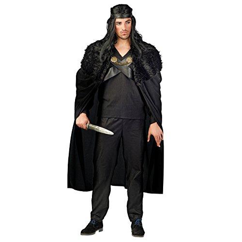 Krieger der Nacht Kostüm Herren schwarz Mittelalter Gewand 3-teilig - XL