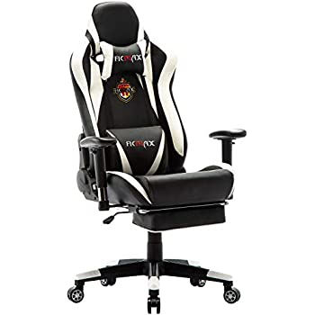 Ficmax Massage Gaming Chair With Footrest Ergonomic Racing