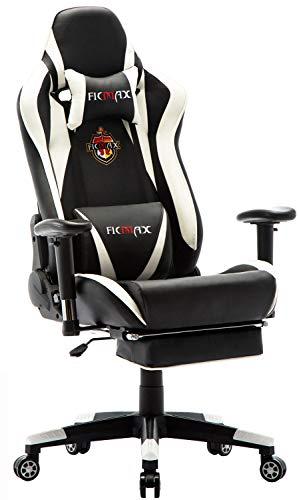 Ficmax Chaise Gaming Ergonomique de Massage, Fauteuil de Bureau Pro Gamers Fauteuil Gaming avec Repose Pied Racing Inclinable avec Support Lombaire Chaises en Cuir E-Sports