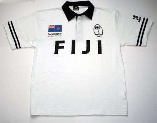 Weißes Rugby-shirt (Bonesmasher Fiji Rugby Shirt, Größe M, Weiss, Kurzarm)