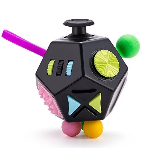 zappeln Cube von oknas 2.0: Best Extra strapazierfähig 12-kant Klassenzimmer/Office Hand laviert Spielzeug für die Freigabe der Angst, die sich & Killing time-perfect für ADHD, hinzufügen und autisten Studenten, Kinder, Erwachsene, Black with Colors (Hand Fütterung Werkzeug)