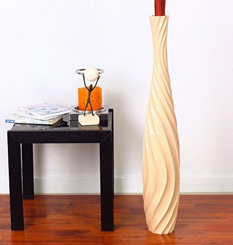 Leewadee Große Bodenvase für Dekozweige hohe Standvase Design Holzvase 90 cm, Mangoholz, Creme