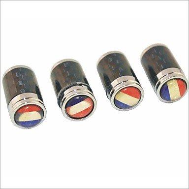DBRGR® in fibra di carbonio fai da te bandiera francese di scolpitura universale cappucci delle valvole d'aria - nero (4 pezzi) - Valvola In Fibra Di Carbonio
