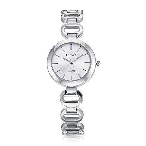 YAZILIND bijoux mode style britannique blanc cadran quartz montre-bracelet pour les femmes filles-argent