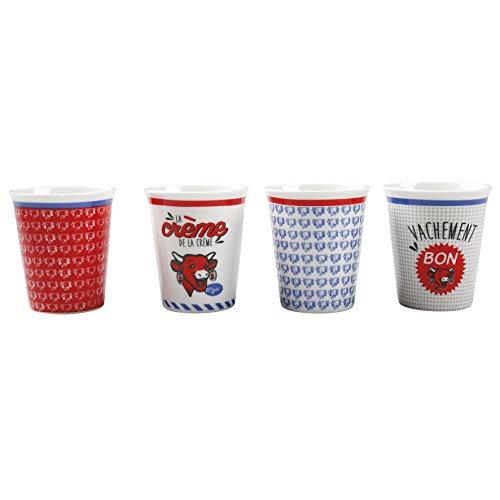 La Vache Qui Rit Tasses à café Expresso décors Assortis Lot de 4 Tasses cont. 10,5cL diam. 6cm Haut. 7cm Porcelaine