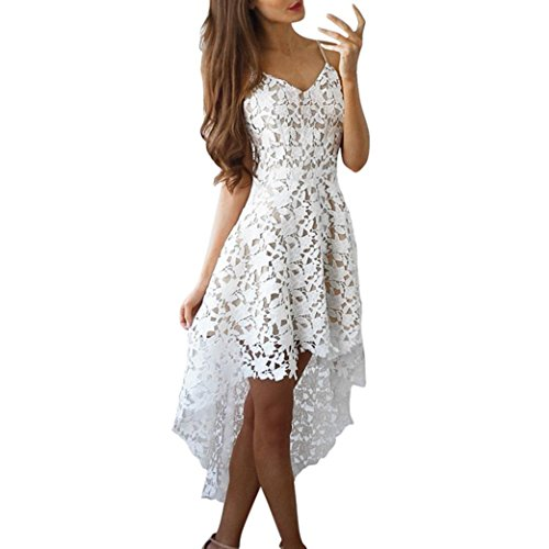 FEITONG Damen Blumen Spitze Ärmelloser V-Ausschnitt Swing Irregulär Kleid Weiß