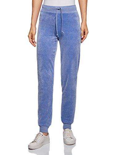 oodji Ultra Mujer Pantalones Deportivos con Cordones, Azul, ES 38 / S