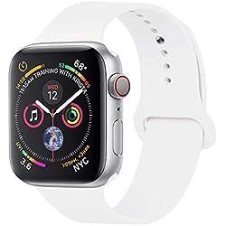 GIPENG pour Bracelet Apple Watch 38MM, Bracelet Sport pour Apple Watch Serie 1, Serie 2, Serie 3, Sport, Edition, Hermès,Nike (Blanc, 38MM-ML)