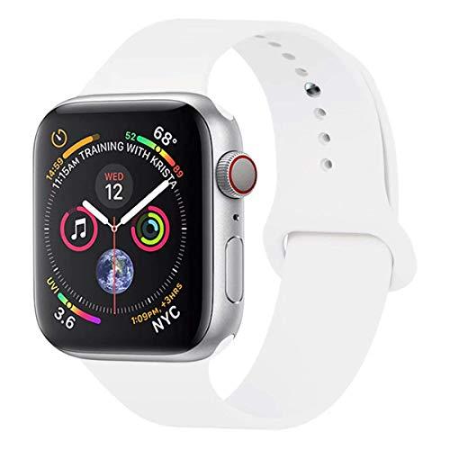 HILIMNY Para Correa Apple Watch 42MM, Suave Silicona iWatch Correa, Para Series 3, Series 2, Series 1, Nike+, Edition, Hermes (Blanco, 42MM-SM)