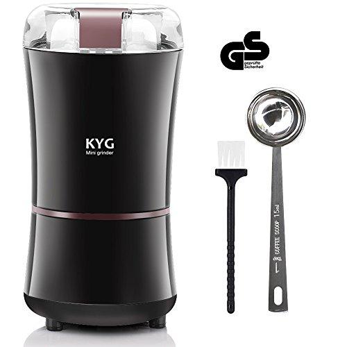 KYG Elektrische Kaffeemühle 300W Kaffeebohnen Nüsse Gewürze Getreide Kaffeemühle mit Edelstahlmesser, 50g Fassungsvermögen Schwarz