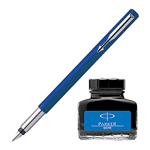 Parker Vector Standard CT Fountain Pen - Blue + Quink Ink Bottle - Blue (30ML)  available at amazon for Rs.328
