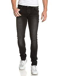 BLZ jeans - Jean noir homme slim délavé froissé