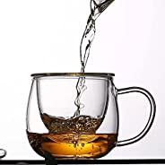 PAJAR Glass tea 3 in 1-12 oz Multi-use cup and perfect office companion with Strainer, and Lid made of bamboo