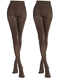 ddb291f2d MANZI Women s 2-6 Pairs Classic Opaque Control-Top Tights with Comfort  Stretch 70