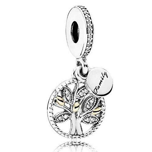 Pandora Damen-Charm Familien Stammbaum Silber vergoldet Zirkonia transparent Brillantschliff - 791728CZ (Silber Charms Pandora)