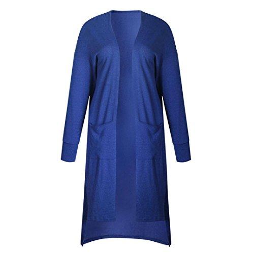 GiGiSun Frauen Damen Taschen Langarm Strickjacke Strickjacke Mantel Outwear (XL, Blau)