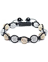 Shamballa Style Bracelets Crystal Disco Ball Friendship Beads By The Jewels [Gold & Blanc avec ficelle noir]