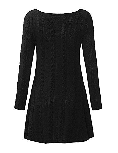 Brinny Femme Sweater Tricot Lâce Manche longue Haut Pull Mini-robe Cardigan Sweats 7 Couleur 5 Taille: S-2XL Noir