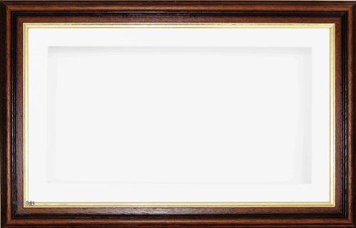 Anika 7 x 13/13 x 18 cm-Cadre-boîte en bois Imitation acajou/doré Passe-Partout blanc + carte dos &Verre 35,5 x 20,3 cm