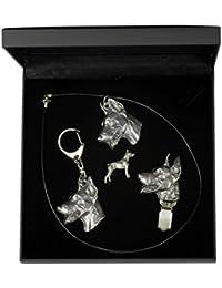 Dobermann, Hund Schlüsselring, Halskette, Anstecker und clipring in Sarg,  Elegance Set, Limitierte… 064cdd8eeb