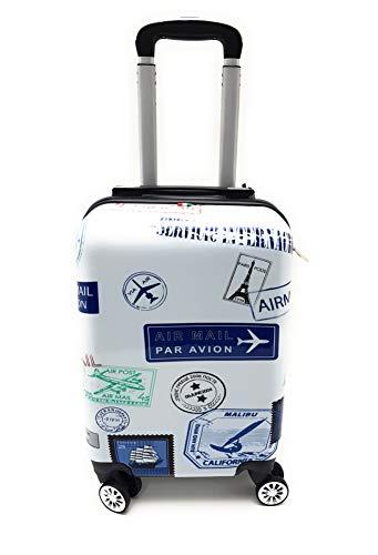 Trolley Bagaglio a Mano Ryanair Priority Abs Lucido con Disegno 8 Ruote Idoneo Cm.55x40x20 misure effettive cm.52x35x20 (BL049/1MAIL)