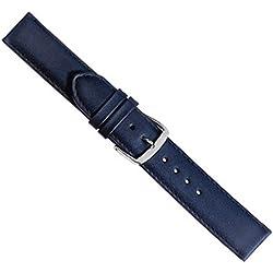 Herzog Beach Ersatzband Uhrenarmband Kalbsleder Band Dunkelblau mit Naht 20427S, Stegbreite:28mm