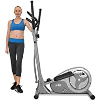 JLL® CT300 Home Luxury Elliptical Cross Trainer, 2018 New Magnetic Resistance Elliptical Fitness Cardio Workout with 8-level Magnetic Adjustable Resistance, 5.5KG Two Way Flywheel, Console Display with Heart Rate Sensor and Tablet Holder. Silver Colour