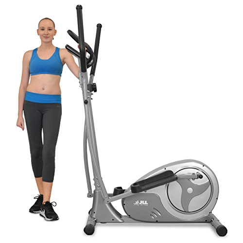 JLL® CT300 Home Luxury Elliptical Cross Trainer, 2018 New Magnetic resistance elliptical fitness Cardio workout with 8-level magnetic adjustable resistance, 5.5KG two ways Flywheel, console display with heart rate sensor and tablet holder. Silver colour