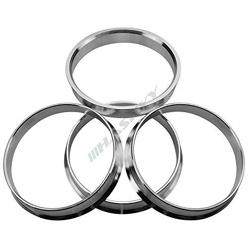4x Zentrierringe Aluminium Silber eloxiert Alu 66,5-57,1 - passend zu originalen neuen Alufelgen von Audi, Seat, Skoda, Volkswagen auf die alten Fahrzeugmodelle
