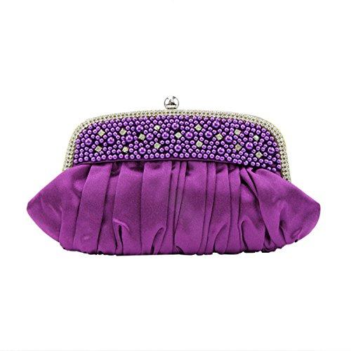 Damen Seide Gefaltete Perlen Bankett Party Kosmetik Abend Party Handtasche Purple