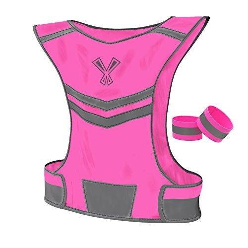 Die 247Viz Reflektierende Weste mit Innentasche & 2Hohe Sichtbarkeit Running Sicherheit Bands, Sporty Reflective Vest, neon pink
