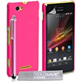 Yousave Accessories Hard Hybrid Cover mit Stylus Pen für Sony Xperia M–Hot Pink