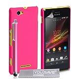 Yousave Accessories®-Cover ibrida rigida con pennino touch, per Sony Xperia M-Hot, colore: rosa