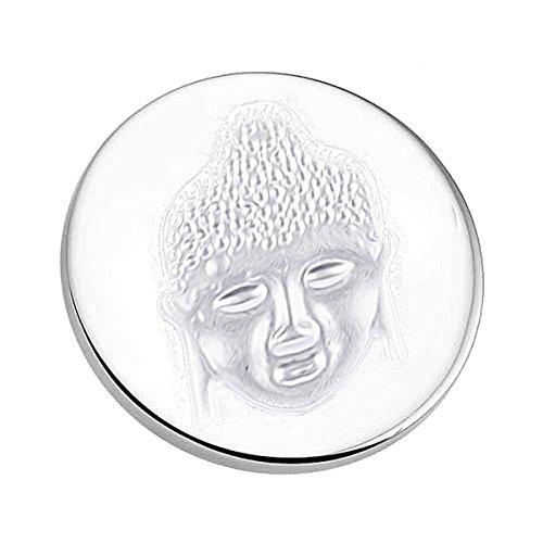 AKKi jewelry Damen Halskette Coins-Anhänger-Set Coin 33 mm münze für Medallion Edelstahl Swarovski Kristalle Silber Rose Schmuck 70 cm Lange Hals Kette Buddha -