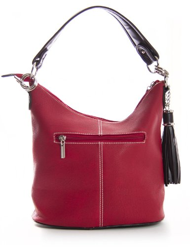 Big Handbag Shop Damen Ranzentasche Obergriff Bucketform Rot