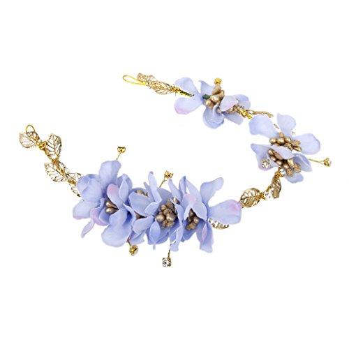 Haarband Blumen Kranz Blüten geflochten Haarschmuck Stirnband Haarreif Tiara - Blau
