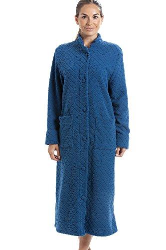 Robe de Chambre Longue - à Boutons/en Polaire Douce - Motif Floral - Bleu 44/46