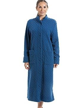 Vestaglia da donna in morbido pile - chiusura a bottoni - fantasia floreale - blu
