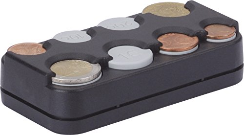 Price comparison product image Coin box / Euro holder - 8 Compartments - Black